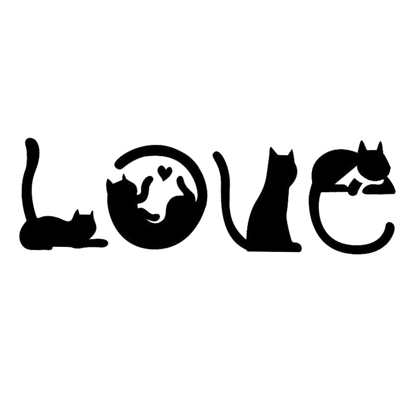 15.2*4.8CM Cats Spell LOVE Fashion Creative Cartoon Car Sticker Windshield Decorative Decals C4-0447(China)