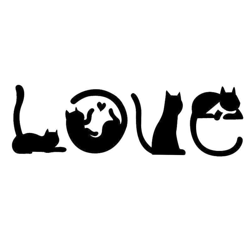 15.2*4.8CM Cats Spell LOVE Fashion Creative Cartoon Car
