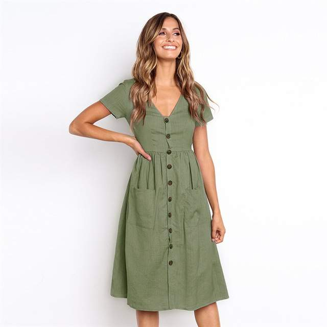 eb4988bf748 LisVintion Summer Dress Women s Fashion Summer Short Sleeve V Neck Button  Down Swing Midi Dress with