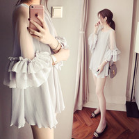 Spring/summer Shirts Pregnant Women Princess Dress Pregnancy Tops&Blouses Fashion Pleated Maternity Clothes Casual M~XXL Camisa