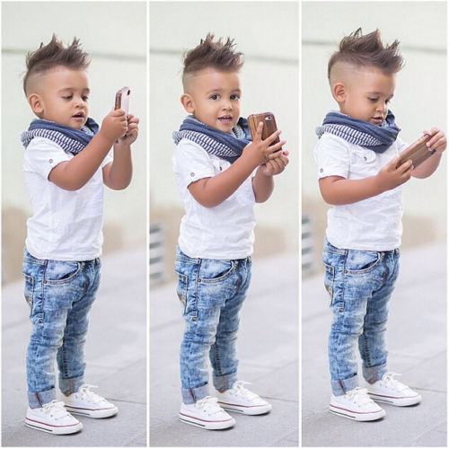 2PCS NEW Baby Boys Clothes Toddler Kids White T-shirt Top + Jeans Outfits Clothing Sets 2-7Y