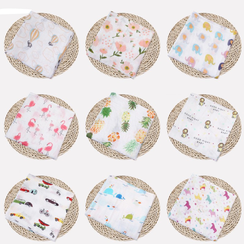 100% Muslin Cotton Blanket & Swaddling Fruit  Rose Print Multi-use Newborn Swaddle Muslin Infant Gauze Both Towel Baby Warp
