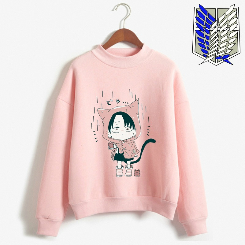 Japanese Anime Attack On Titan Cute Levi Ackerman Women Hoodies  Long Sleeve Sweatshirts Casual Loose Hooded