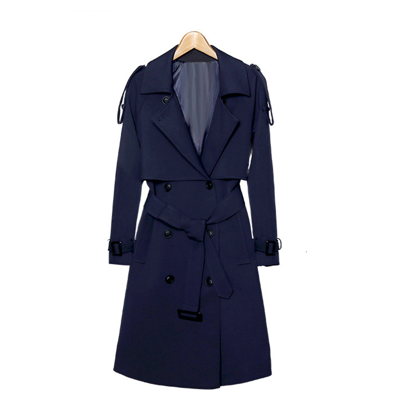 2018 Spring Autumn New Korean Women Slim Double-breasted Long   Trench   Coats Wild English Women's Belt Navy Windbreaker A225