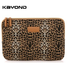 "Kayond Canvas Fabric Yellow Leopard Laptop Sleeve Case Cover 8"" to 15 inch Superior Protection Laptop Sleeve Case Bag"