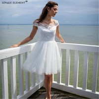 Wedding Dresses Appliques Cheap Short Backless Tulle Lace Bridal Gown