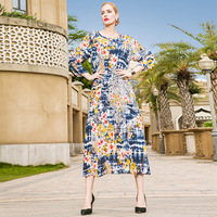 100% Silk Chinese style print loose plus size beach party long dress 2018 new high quality office lady women summer dress