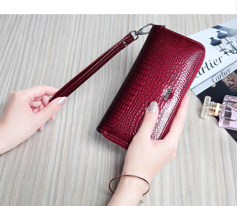 VICKAWEB Wristlet Wallet Purse Genuine Leather Wallet Female Long Zipper Women Wallets Card Holder Clutch Ladies Wallets AE38-006