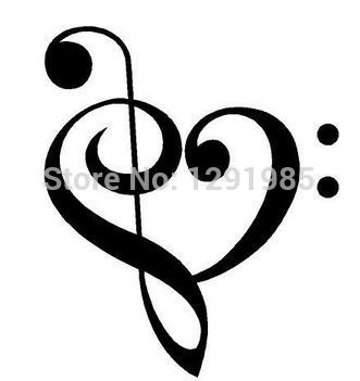 Music Heart Decals Wall Saying Vinyl Lettering Home Decor Decal
