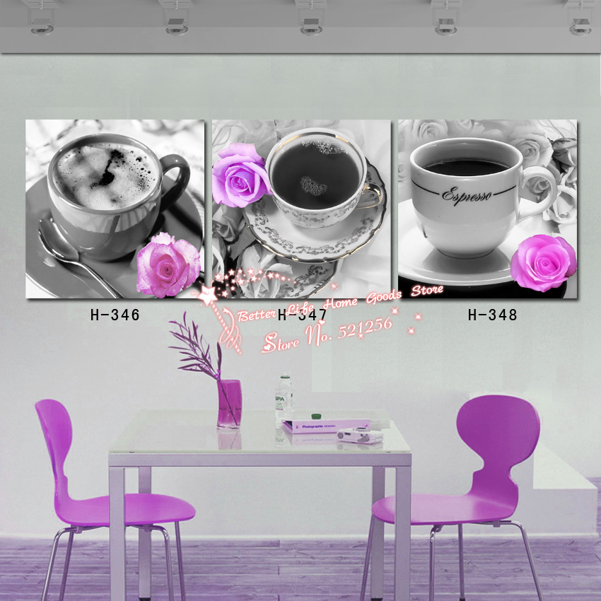 Modern Wall Art Home Decoration Printed Oil Painting Pictures 3 Piece Kitchen Wall Canvas Prints Coffee In Cup Purple Roses Painting And Coloring Games Coffee Paintingpainting With Fabric Paint Aliexpress