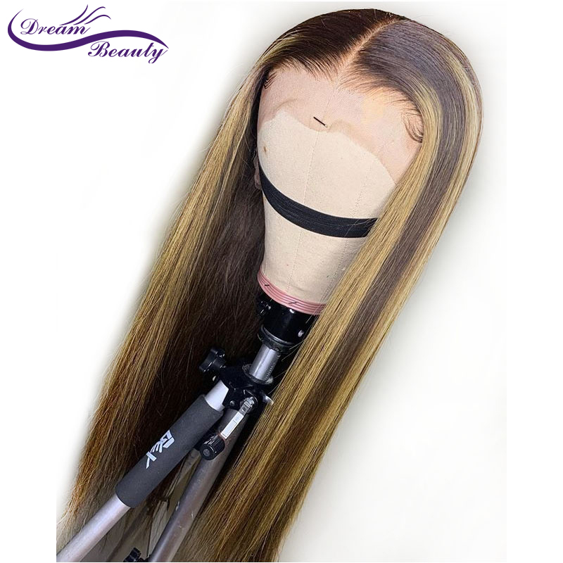 1B 27 Ombre Highlight Color Lace Front Human Hair Wigs With Baby Hair 13 6 Straight