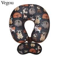 Vegou Puppy Dog Pattern Travel Pillow With Eye Mask Kit U Shaped Flight Car Pillows Cartoon