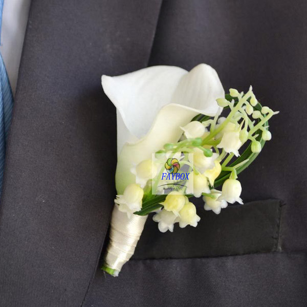 a3ddad0971 US $17.11 14% OFF|5Pcs/Lot Wholesale Hand Made Best Man Groom Boutonniere  PU Calla Lily Flower Man Corsage Wedding Man Pin Brooch Decoration-in ...