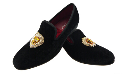 b7a850d8905 mens border shoes animal print black slippers velvet loafers US size 6-13 Free  Shipping