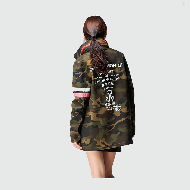 082ebd1c1773c Women Military Coat Hooded Pockets Design Back Letter Print Army Green  Camouflage Trench Coat Boyfriend Outerwear Autumn 2016-in Trench from  Women's ...