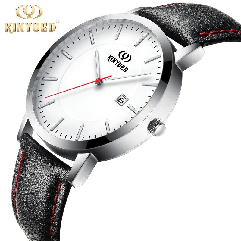 KINYUED Mens Watches Ultra Slim Leather Shockproof Quartz Watch Men Waterproof Calendar reloj hombre marca de