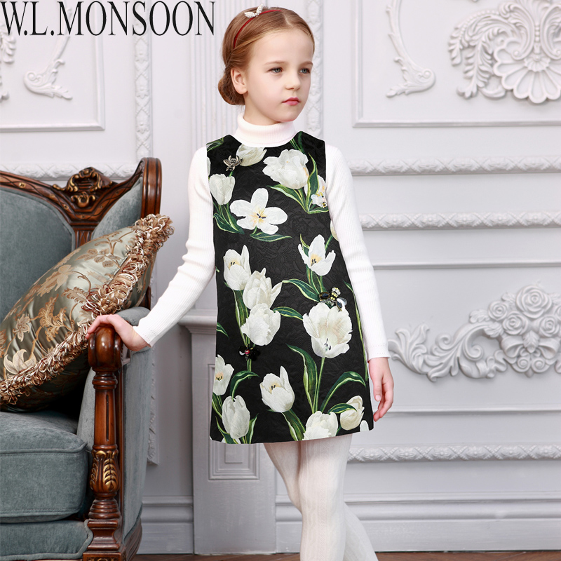 Подробнее о W.L.MONSOON Girls Dress Princess Costumes for Kids Clothes 2017 Brand Tulip Flower Beading Girl Party Dresses Robe Mariage Fille baby girls dresses brand princess dress girl clothes kids dresses children costumes 3 14 years old