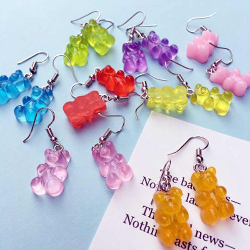 Funny Colorful Ins Style Cartoon Bear Earring Lovely Resin Bear Candy Color Stud Earring For Women&Girl Daily Jewelry Party Gift