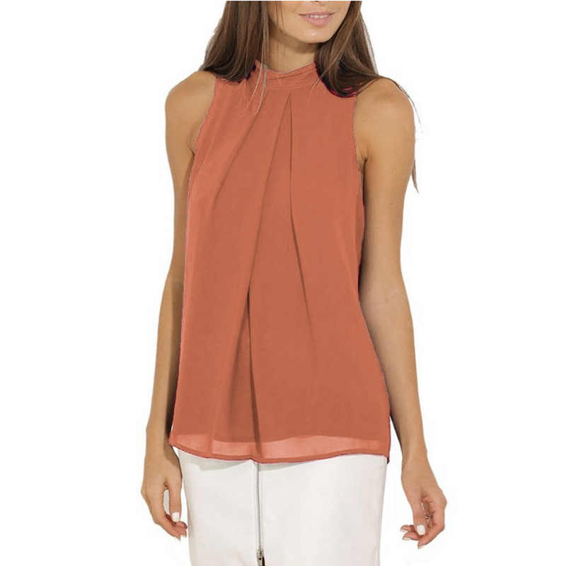 リサすす夏ファッション女性の2018新しいソリッドカラーoネックブラウスカジュアルシャツノースリーブシフォントップス女性ビーチシャツ