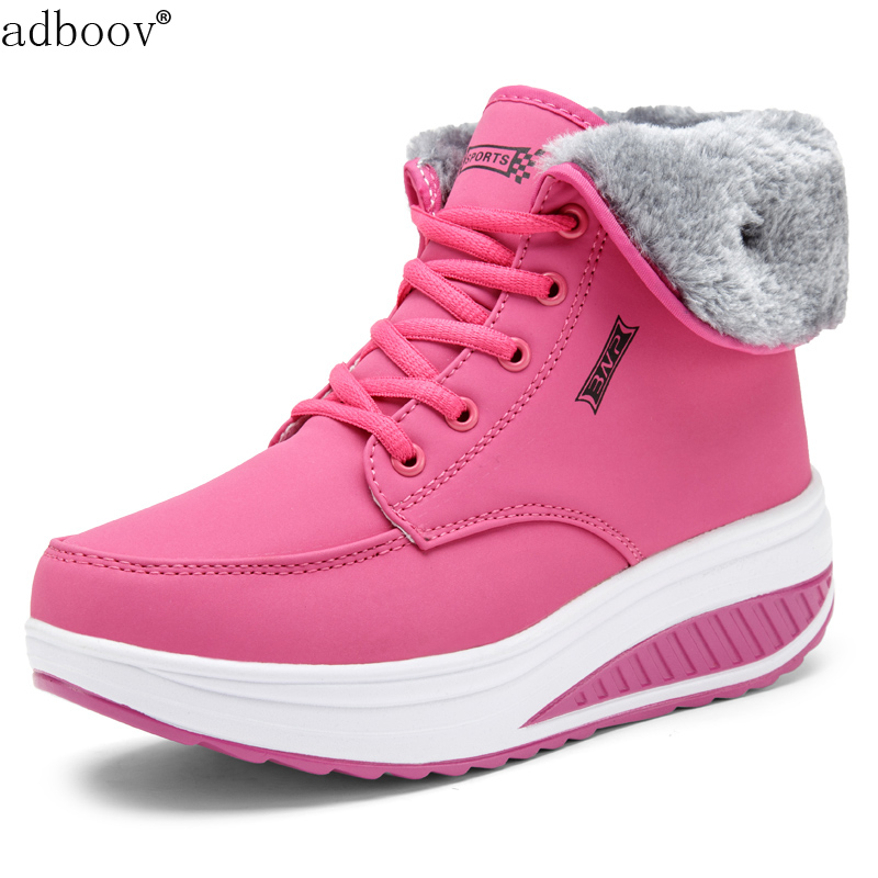7606fefbc44 Women s Fur Lined Shape Ups High Top Walking Shoes Wedges Platform Fitness  Sneakers Ladies Rocker Bottom Winter Snow Boots NEW-in Snow Boots from Shoes  on ...