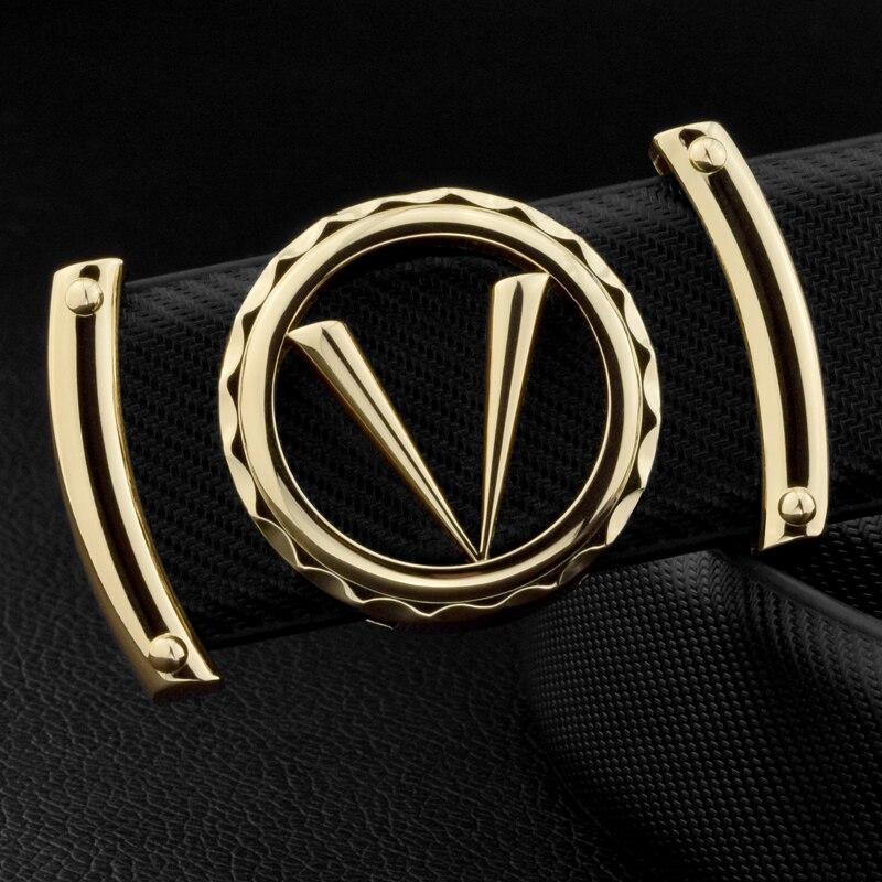 Bonne qualité V lettre noir en cuir véritable concepteur ceintures hommes mode peau de vache taille sangle décontracté lisse bouton ceinture homme