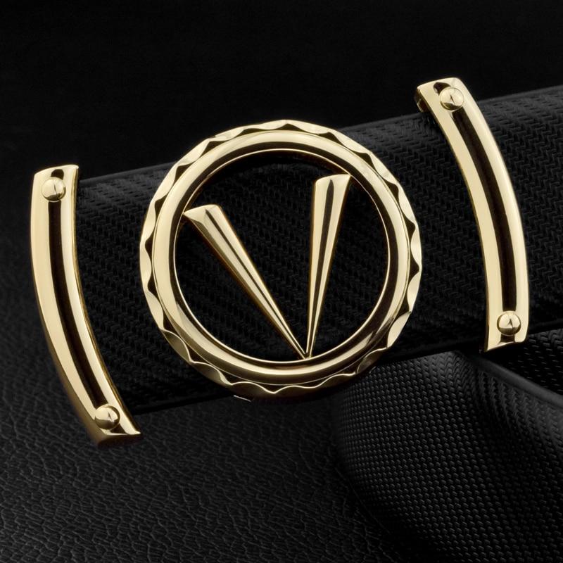 Good Quality V Letter Black Genuine Leather Designer Belts Men Fashion Cowskin Waist Strap Casual Smooth Button Ceinture Homme