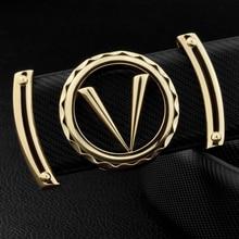 Good Quality V Letter Black Genuine Leather Designer Belts Men Fashion Cowskin Waist Strap Casual Smooth