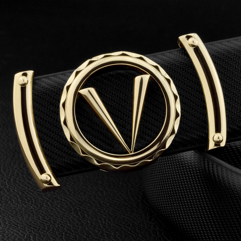 Good Quality V letter Black genuine leather designer   belts   men Fashion Cowskin Waist Strap Casual smooth button ceinture homme