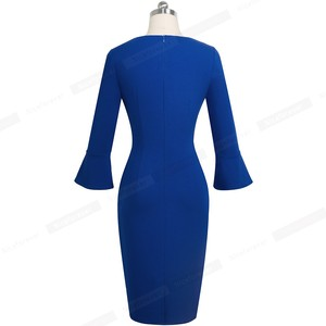 Image 2 - Nice forever Elegant Pure color Sexy V neck vestidos Business Party Bodycon Vintage Women Sheath Dress B541
