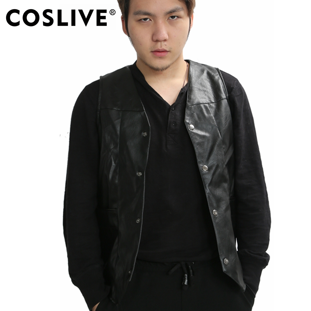 Coslive Daryl Dixon Vest The Walking Dead Daryl Dixon Wings Leather Vest Black Adult Mens Fashion Jacket