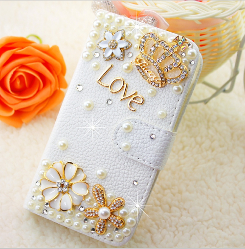 Fashion Crown White PU Embossed Leather Case Cover for iPhone 5 6 7 for Samsung Phone Case