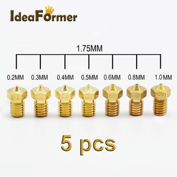 5 шт. 3D принтер Аксессуары V5 V6 M6 с резьбой насадка 0.2 0.25 0.3 0.4 мм 0.5 0.6 0.8 1.0 мм для 1.75 мм filamnet металлический E3D