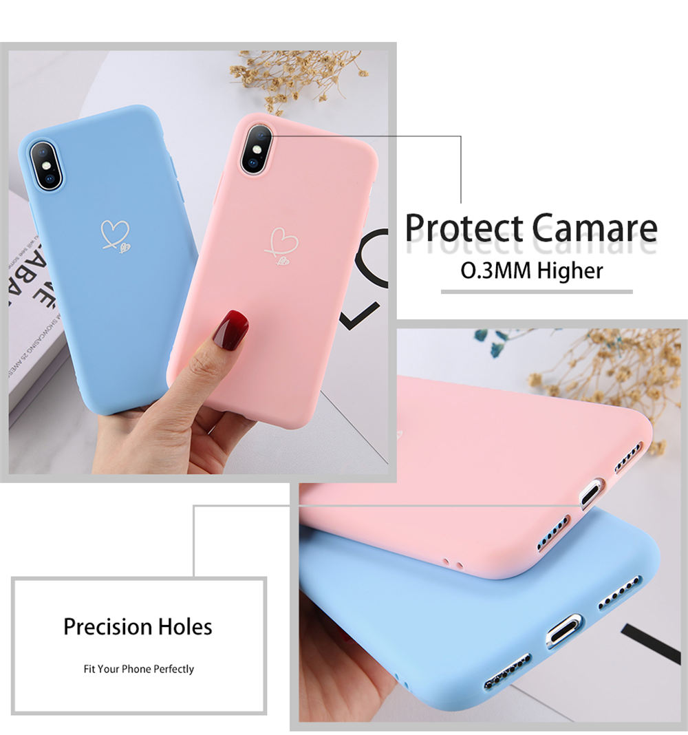 HTB1bLrRd21H3KVjSZFHq6zKppXaH - Lovebay Colorful Love Heart Case For iPhone 6 6S 7 8 Plus 11 Pro X XR XS Max 5 5s SE Candy Color Phone Case Soft TPU Back Cover