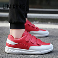 LIN KING  Hook Loop Hip Hop Height Increase Round Toe Men Flat Shoes Low Top Breathable Leisure Trainers Lazy Ankle Lazy Shoes