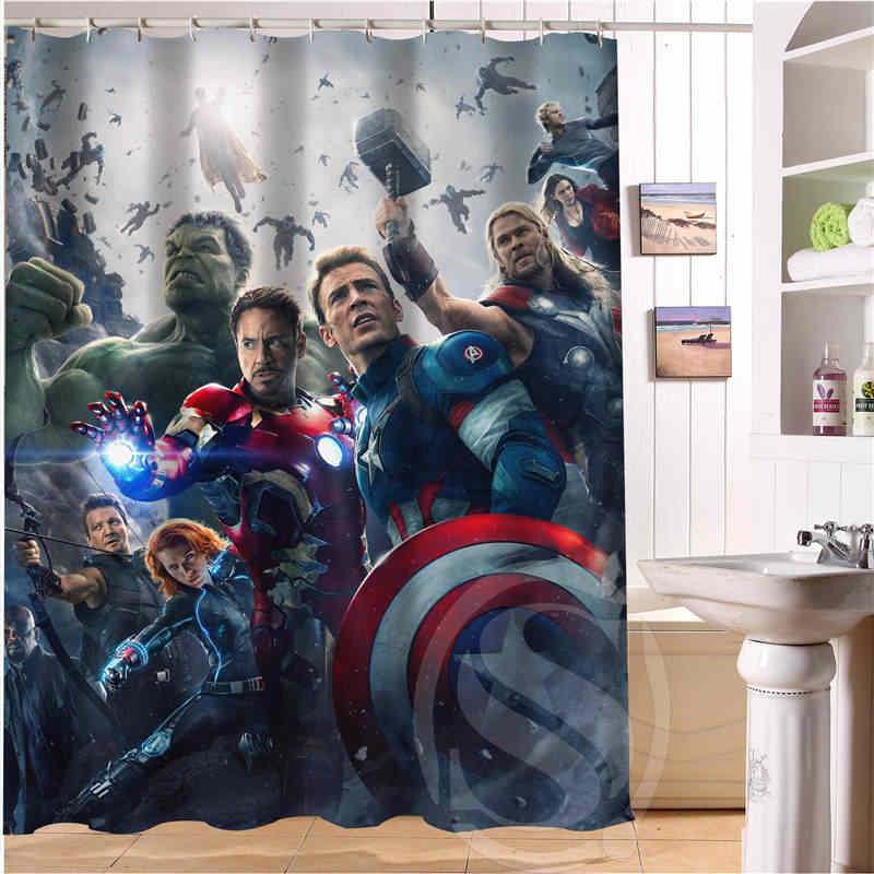 חמה למכירה משלוח חינם Custom מארוול האלק, איש עכביש, קפטן אמריקה נוף חוף ים עמיד למים וילון מקלחת