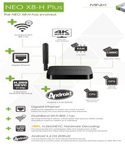 MINIX NEO X8-H X8 H Plus Android TV Box Amlogic S812 Quad Core 2.0 GHz 2G/16G 2.4/5 GHz WiFi H.265 4 K XBMC Inteligente TV