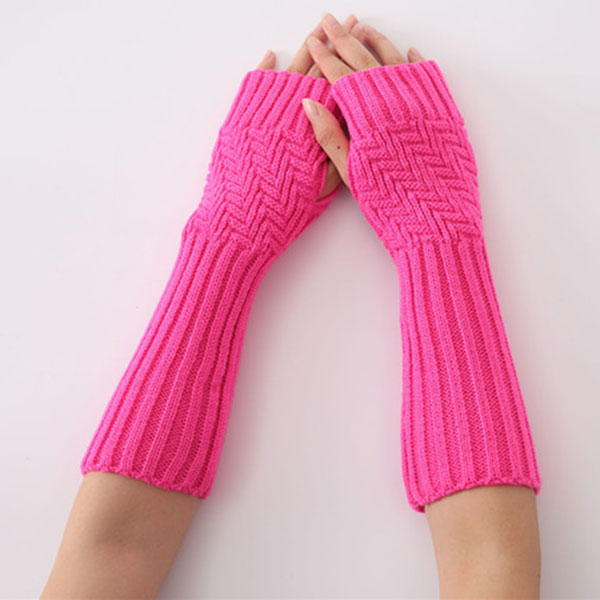 Hot Sale 1pair New Hand Knitted Half Fingers Long Gloves For Women Warm Autumn/Winter Hand Arm Gloves CXZ