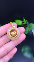 Natural White Round HeTian Yu + Full Gold Inlaid Movable RuYi Inlay Style Lucky Pendant Necklace + Certificate Jewelry