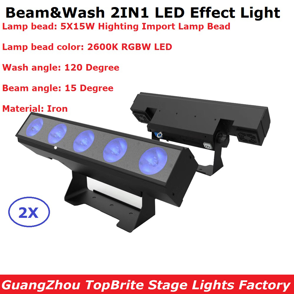 2Pcs/Lot Carton Package 5X15W 4IN1 Non-Waterproof Led Wall Washer Lights RGBW 4 Colors Bar Beam Lights For Dj Disco Nightclubs
