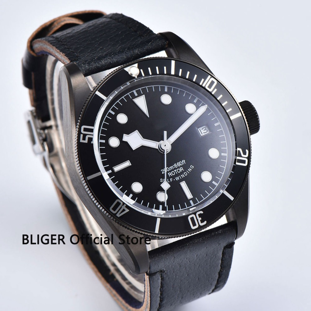 41mm Black Sterile Dial Black PVD Coated Case Luminous Marks Sapphire Glass Deployment Buckle Automatic Movement Mens Watch41mm Black Sterile Dial Black PVD Coated Case Luminous Marks Sapphire Glass Deployment Buckle Automatic Movement Mens Watch