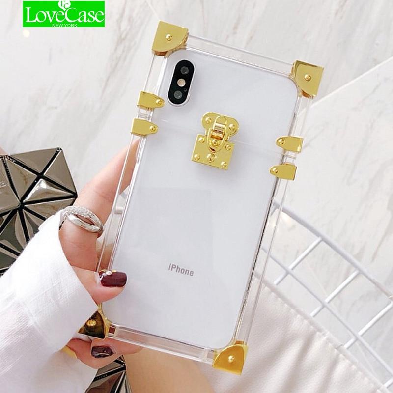 LoveCase di Metallo Trasparente Acrilico Custodie Per iphone X Dell'annata di Modo Della Copertura di Caso per iphone 7 8 6 s 6 Più Funda telefono Custodie