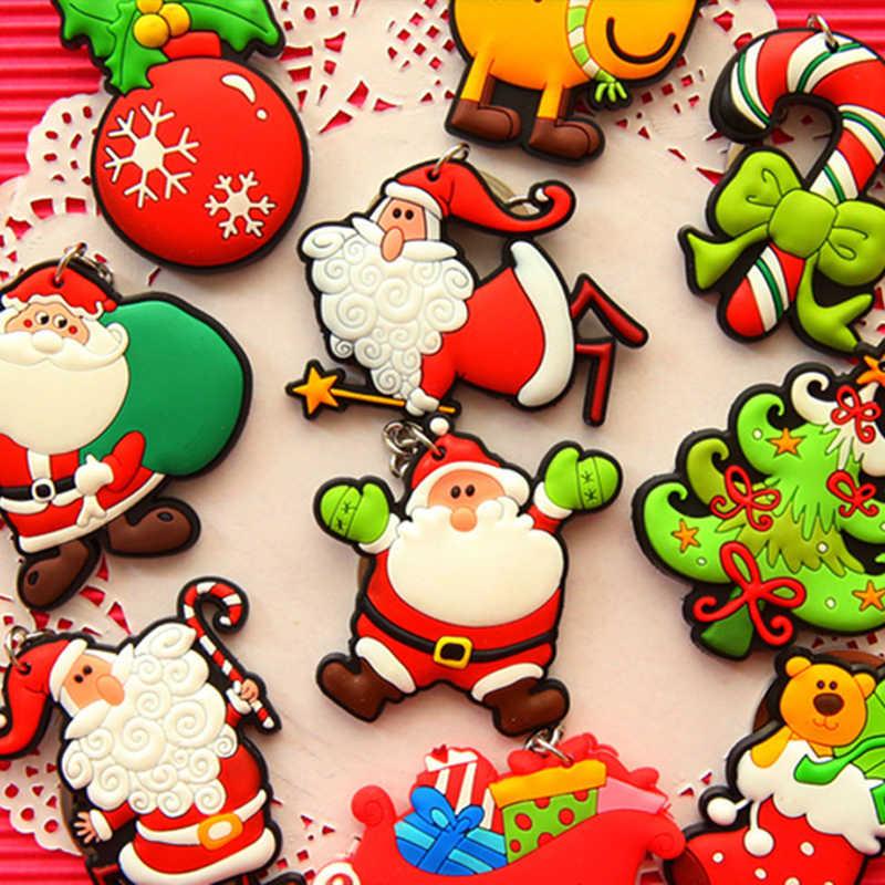 (4 шт./лот) смешанные конструкции 5 см Санта Клаус Брелоки ювелирные Рождественский подарок мягкого ПВХ брелок дети Игрушечные лошадки Рождество дерево Украшения