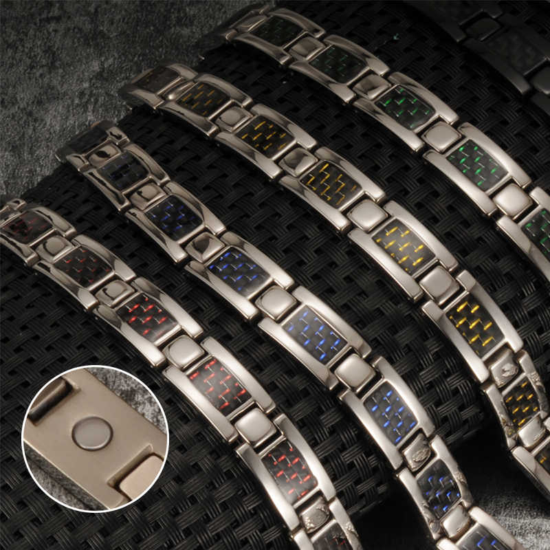 Vinterly Pure Titanium Magnetic Bracelet Men Black Carbon Fiber Charms Men Bracelet Health Energy Germanium Hologram Bracelets