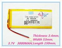 Tablet batterie Tablet polymer batterie 3453150 3 7 V 3000 MAH Lithium Tablet polymer batterie mit Schutz Bord-in Tablet-Akkus & Backup-Stromversorgung aus Computer und Büro bei