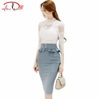 Sexy 3 4 Sleeve Lace Blouse High Waist Ruffles Peplum Pencil Skirt Women Bodycon Midi Suit
