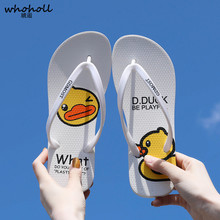 купить Cute Cartoon Duck Slippers Flip Flops Women Summer Slides Flat Sandals Home Bathroom Outside Beach Flip Flops Ladies Shoes по цене 617.06 рублей