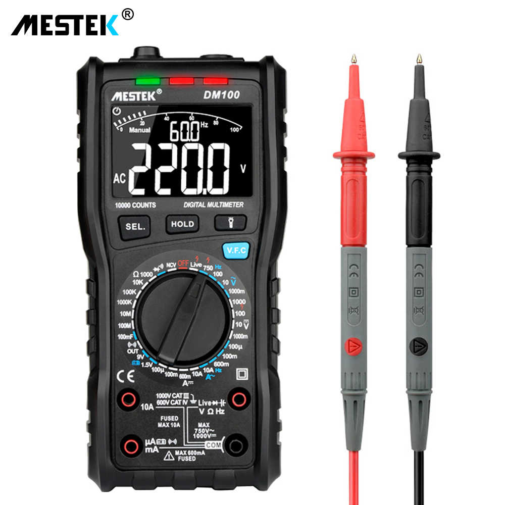MESTEK DM100 Digital Multimeter High Speed Smart Double Core T-rms NCV Temperature multimetro Anti-burn Fuse Alarm multimeters