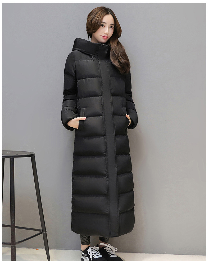 Women's Super Long Down Jacket Thick Black Red Hooded Keep Warm Slim