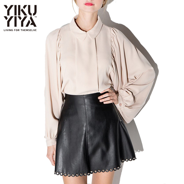 YIKUYIYA Spring Beige Pleated Loose Vintage Shirts Sweet Peter Pan Collar Comfort Tops Brief Ballon Sleeve Casual Blouse