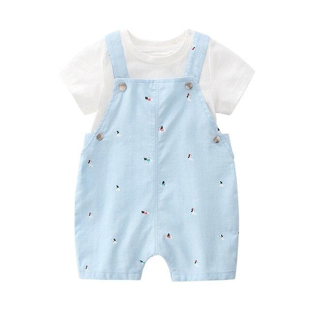 Algodão mãe do bebê roupas de verão 2 pçs macacão + calças crianças outwear do bebê festa conjuntos